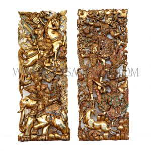 Pair of Thai Gilded Teak Ramayana Carvings with Colored Glass Inlay