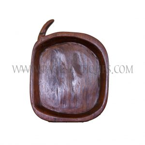 "Northern Thai Oval-shaped Teak Sticky Rice Tray ""Kraboam"" with Handle"