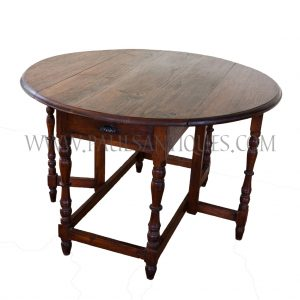 Burmese Colonial Teak Round Gate-Leg Table with Turned Legs and Drawers