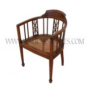 Burmese Colonial Teak and Rattan Squared Tapered-Leg Round-Back Chair
