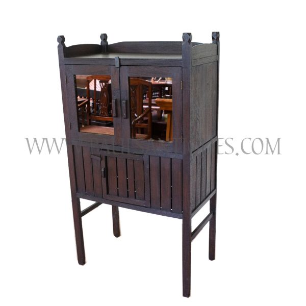 Refurbished Traditional Thai Teak Food Locker / Kitchen Cabinet with Rose Gold Mirrored Glass