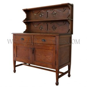 Rare British Colonial Burmese Teak Kitchen Sideboard