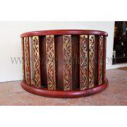 Burmese Circle Drum Repurposed as a Reception Desk with Thai Teak Art-Deco Desk