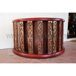 Burmese Circle Drum Repurposed as a Reception Desk with Thai Teak Art-Deco Desk