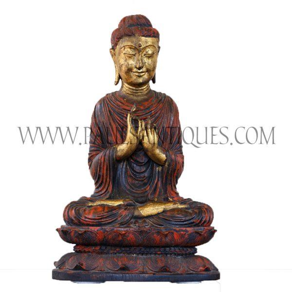 Burmese Teak Buddha Sitting on a Lotus Base with Hands in Teaching Mudra