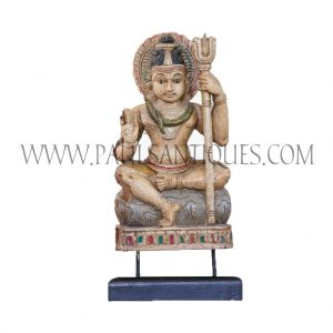 Indian Wood Carving of Hindu God Shiva, Creator, Protector and Transformer of the Universe, on Custom Teak Stand