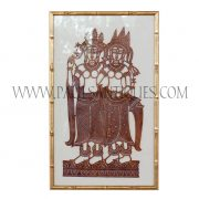Cambodian Hand-Tooled Leather Shadow Puppet Carving of Dancing Twin Apsaras on Thai Silk in Bamboo Frame