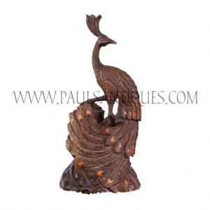 Burmese Precious Burlwood Peacock Carving
