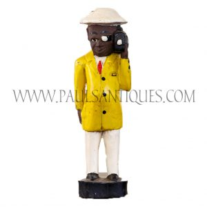 Côte d'Ivoire African Wooden Male Colon Statue in Yellow Suit and White Hat Holding Movie Camera