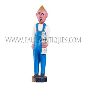 African Wooden Male Colon Statue in Blue Overalls Holding Rabbit