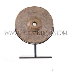 Old Thai Teak Ox Cart Wheel on Custom Metal Stand