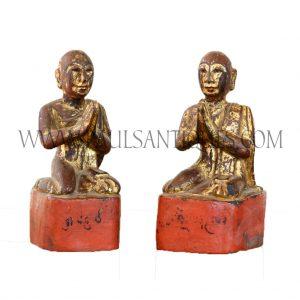 Pair of Burmese Gilded Teak Arahat Praying Disciples of Buddha