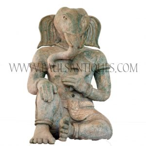 Rare Thai Green Earthenware Terra Cotta Ganesha Statue in Avalokiteshvara (Relaxed Posture)