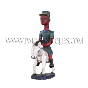 Côte d'Ivoire African Wooden Red Face Soldier Colon Statue on Horse Holding Gun