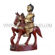 Burmese Gilded Lacquered Teak Carving of Nat Riding on Horse