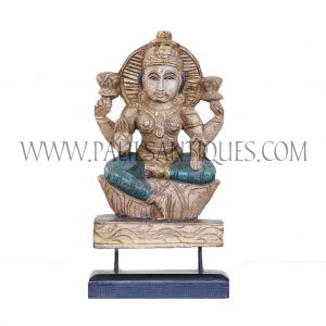Indian Wood Carving of Goddess Lakshmi on Custom Teak Stand