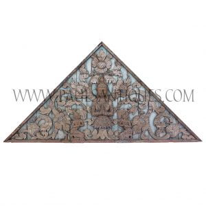 Northern Lanna Thai Teak Gable with Theppanom Angel with Attendants Carving