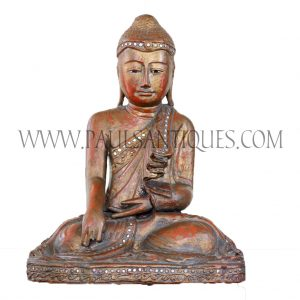 Shan Burmese Gilded Lacquered Teak Buddha Sitting in Bhumisparsha (Mother Earth as Witness) Pose