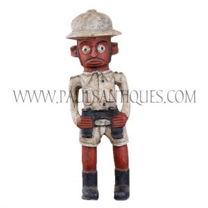 Côte d'Ivoire African Wooden Red Face Male Colon Statue in Safari Gear with Binoculars