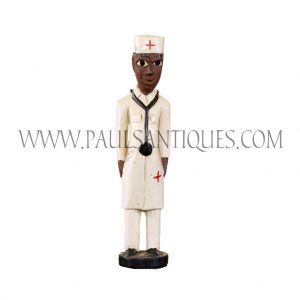 Côte d'Ivoire African Wooden Male Colon Statue in White Red Cross Doctor's Uniform with Stethoscope