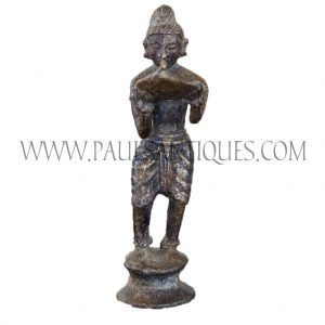 Thai Bronze Figurine of Sujata Offering Rice Milk to Fasting Buddha