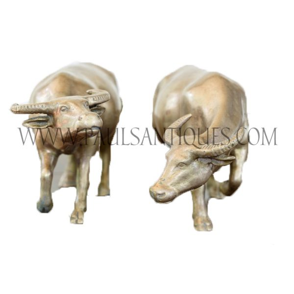 Pair of Thai Solid Brass Water Buffalo Figurines