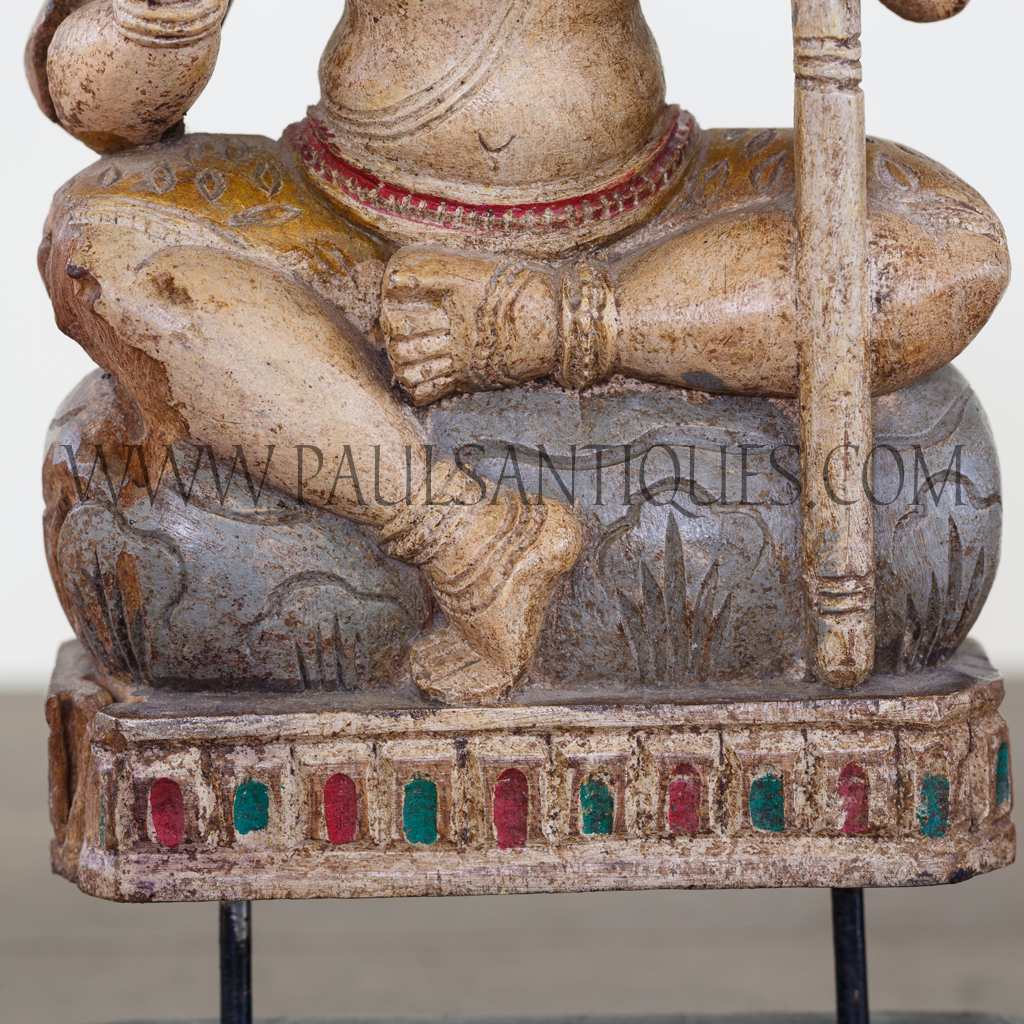 Indian Wood Carving Of Hindu God Shiva On Custom Teak Stand