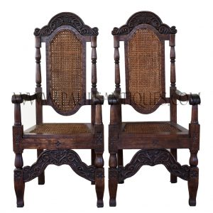 Pair of Indonesian Teak and Rattan Tall Back Armed Dining Chairs