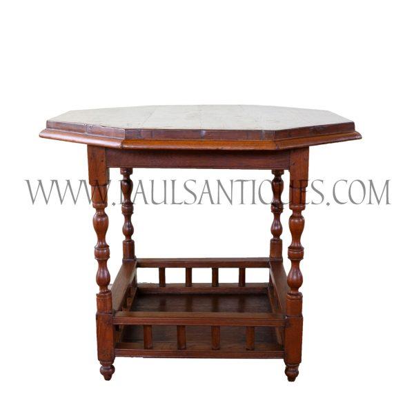 British Colonial Burmese Teak Octagonal Table with Gated Bottom Shelf